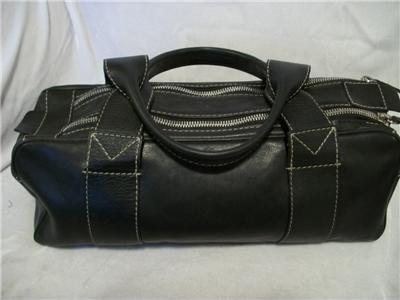 MICHAEL KORS Black Leather Satchel HandBag Domed Bag