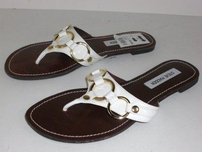 Steve Madden Swindlee White Leather Sandals Shoes 8.5 M