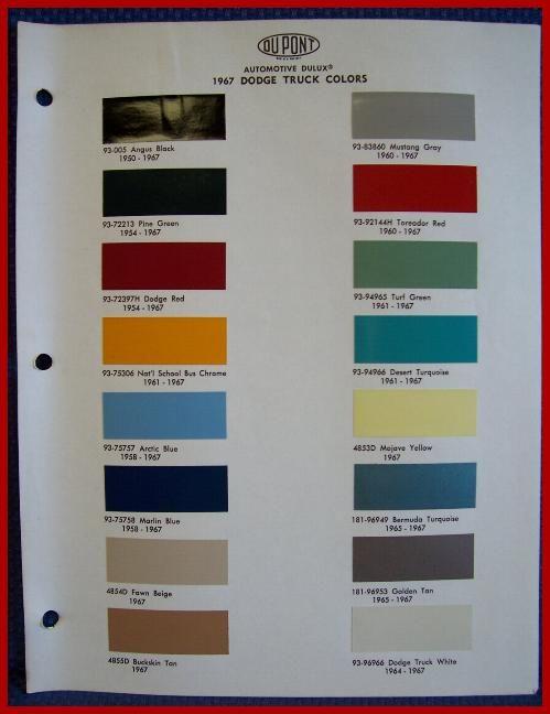 1967 DODGE TRUCK Paint Chip Colors Brochure   DuPont