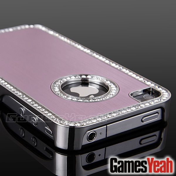 Pink Luxury Bling Diamond Chrome Hard Aluminium Case Cover For iPhone