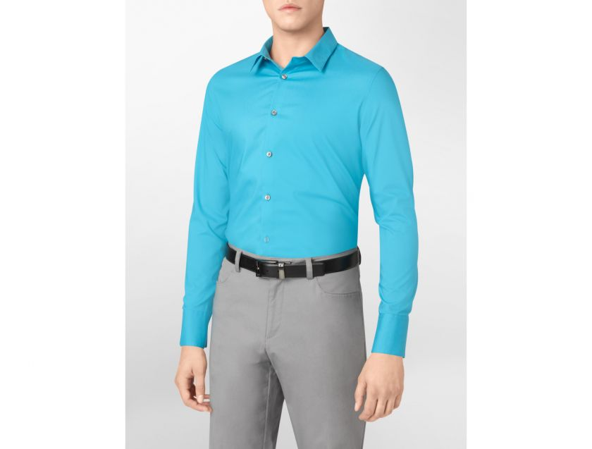 calvin klein body slim fit non iron city sport shirt mens