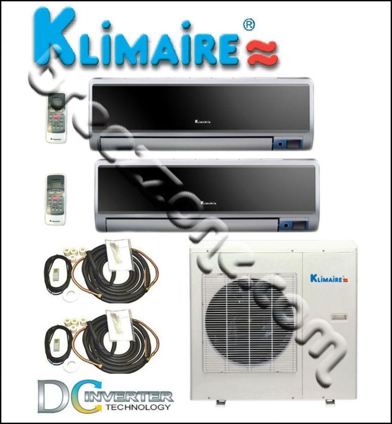KLIMAIRE DUAL ZONE MINI SPLIT A/C HEAT PUMP INVERTER 16 SEER 2x12000