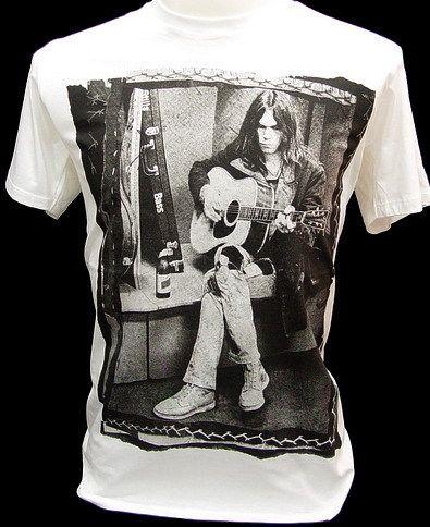NEIL YOUNG VTG Rock Guitarist Legend Retro T Shirt L